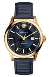 Versace Men's Aiakos Automatic Leather Strap Watch 44Mm Blue Gold