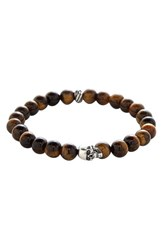 Degs And Sal Men's Stone Bead Stretch Bracelet Brown