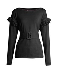 Muveil Ruffle Trimmed Cotton And Wool Blend Sweater Black