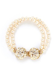 Miriam Haskell Crystal Floral Clasp Pearl Bracelet White
