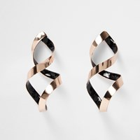 River Island Womens Rose Gold Tone Spiral Drop Earrings