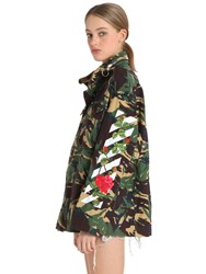 Off White Embroidered Camo Canvas Field Jacket