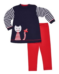 Florence Eiseman Knit Cat Intarsia Tunic W Matching Leggings Size 2 6X Multi