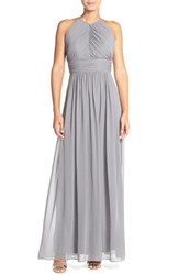 Women's Dessy Collection Ruched Chiffon Open Back Halter Gown Charcoal Grey