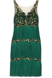 Marchesa Notte Fringed Embroidered Tulle Dress Emerald