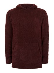 Topman Burgundy Boucle Textured Slim Fit Hoodie