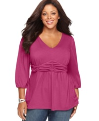 Ny Collection Plus Size Three Quarter Sleeve Ruched Empire Waist Top Lilac Rose