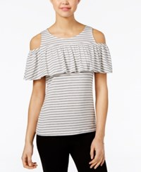 Maison Jules Striped Off The Shoulder Top Only At Macy's Bright White Combo