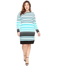 Michael Michael Kors Plus Size Abbey Stripe Long Sleeve Border Dress Dark Peacock Women's Dress Multi