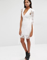 Lavish Alice Embroidered Mesh Maxi Cape Mini Dress White