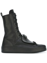 Ann Demeulemeester Patch Detail Lace Up Boots Black