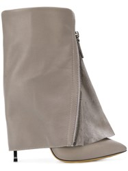 Casadei Foldover Ankle Boots Calf Leather Leather Nappa Leather Calf Suede Grey