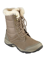 Easy Spirit Erle Faux Fur Trimmed Suede Boots Taupe