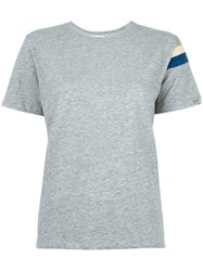 Water Striped Sleeve Detail T Shirt Grey