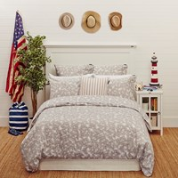 Lexington Printed Sateen Duvet Set Grey Super King