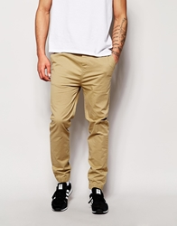 Solid Cuffed Chinos In Straight Fit Sand