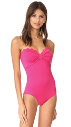 Kate Spade New York Scalloped Bandeau One Piece Tagine Pink