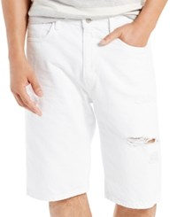 Levi's Men's 569 Loose Fit Shorts White Ripped