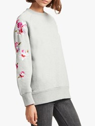 French Connection Victorina Floral Embroidery Sweatshirt Grey Multi