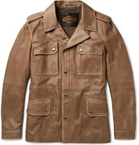 Tod's Waxed Leather Jacket Light Brown