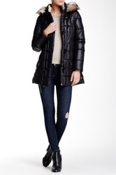 Laundry By Shelli Segal Faux Fur Hood Toggle Down Puffer Black