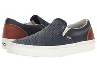 Vans Classic Slip On Leather Perf Dress Blues Friar Brown Skate Shoes Navy