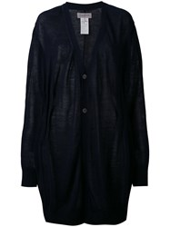 Yohji Yamamoto V Neck Loose Fit Cardigan Women Cotton Ramie 2 Blue
