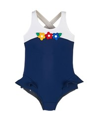 Florence Eiseman Floral Trim Colorblock One Piece Swimsuit Navy