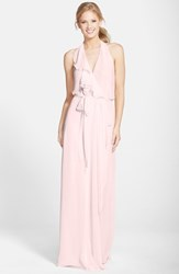 Women's Nouvelle Amsale Long Chiffon Wrap Dress Powder
