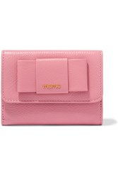 Miu Miu Bow Embellished Textured Leather Wallet Baby Pink