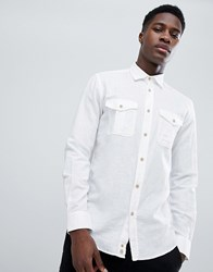 United Colors Of Benetton Linen Mix Shirt In White