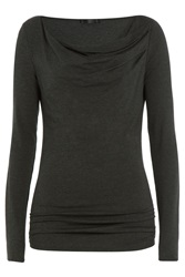 Donna Karan New York Draped Top Grey