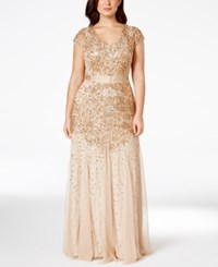 Adrianna Papell Plus Size Cap Sleeve Embellished Gown Champ Gold