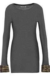Balmain Pierre Chain Embellished Stretch Jersey Top Anthracite