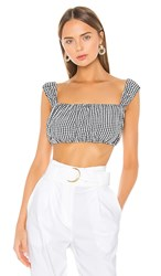 Solid And Striped Cropped Puff Sleeve Blouse In Black. Black Gingham