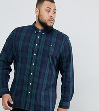 Farah Slim Fit Check Shirt With In Navy Watkins