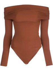 Alexandre Vauthier Off Shoulder Bodysuit Brown