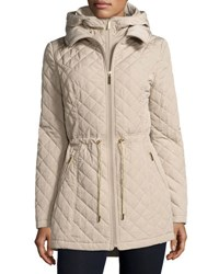 Laundry By Shelli Segal Mini Quilted Wind Resistant Jacket Taupe