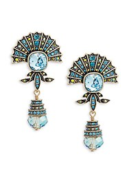Heidi Daus Crystal Fan Drop Earrings Blue Multi