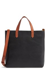 Madewell Small Transport Leather Crossbody Tote Black True Black W Brown