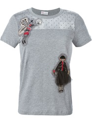 Red Valentino Doll Applique T Shirt Grey