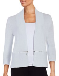 Ivanka Trump Zip Accented Knit Cardigan Heather Frost