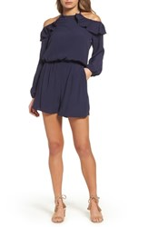 Fraiche By J Cold Shoulder Romper Navy