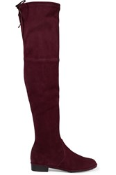 Stuart Weitzman Lowland Suede Over The Knee Boots Burgundy