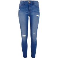 River Island Blue Molly Ripped Skinny Jeggings