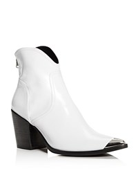 Aqua Pose Pointed Toe Leather Mid Heel Booties 100 Exclusive White