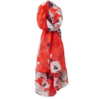 Joules Wensley Posy Print Scarf Red Multi