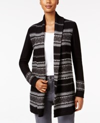 Styleandco. Style Co. Petite Jacquard Sweater Coat Only At Macy's Deep Black Combo