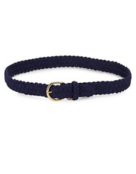 Lauren Ralph Lauren Braided Leather Belt Marine Blue