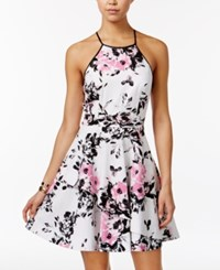 Speechless Juniors' Floral Print Asymmetrical Tier Dress Pink Black